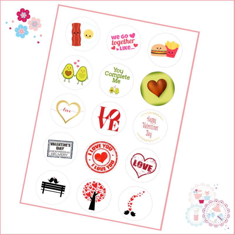 Valentines Cupcake Toppers - SAMPLER SHEET