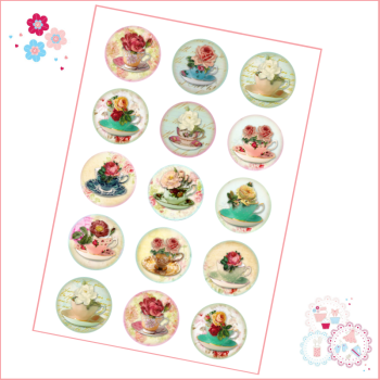 Edible Cupcake Toppers x 15 - Vintage Tea Party Teacup toppers