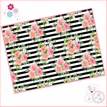 Black & White striped watercolour floral A4 Edible Printed Sheet