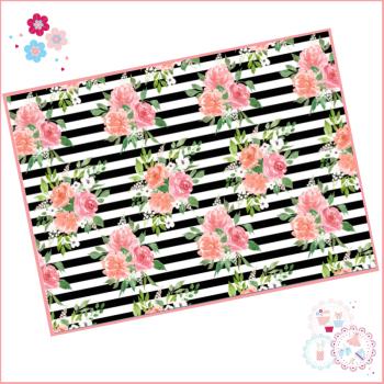 Black & White striped watercolour floral A4 Edible Printed Sheet
