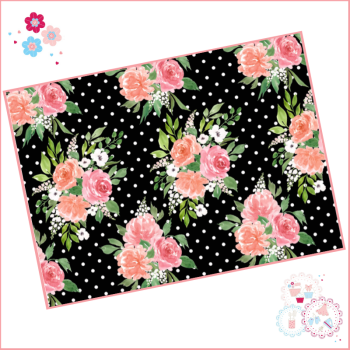 Black & White Spotted Watercolour Floral A4 Edible Printed Sheet