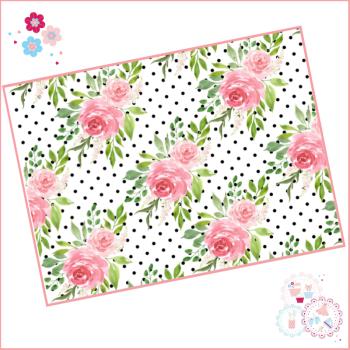 Black & White Polka Dot Watercolour Floral A4 Edible Printed Sheet