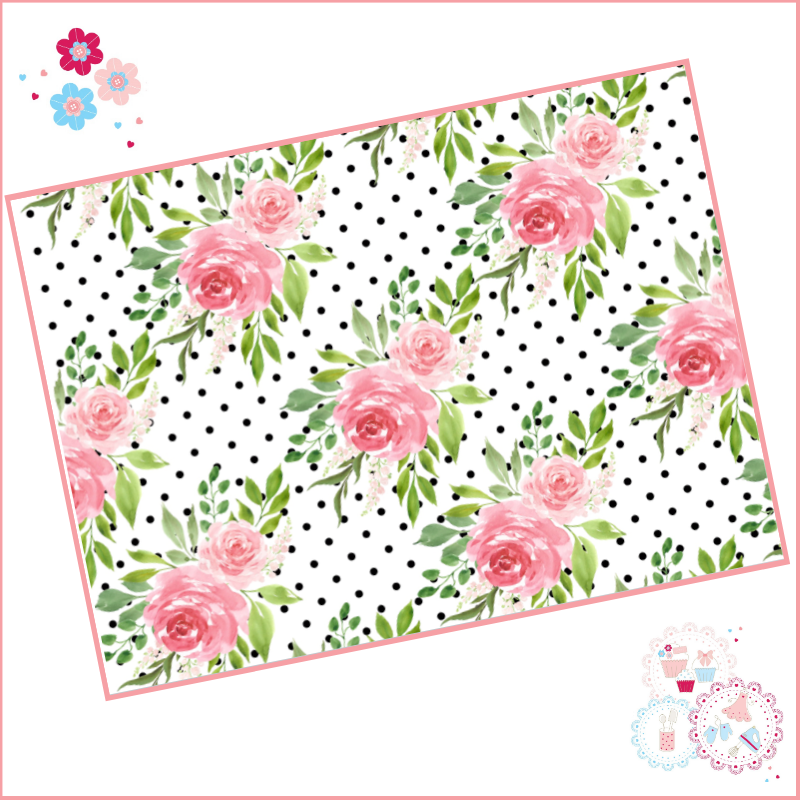 Black & White Polka Dot Watercolour Floral A4 Edible Printed Sheet