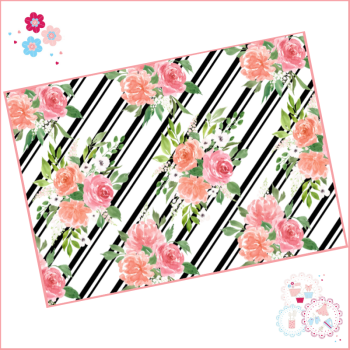 Black & White Diagonal Stripe Watercolour Floral A4 Edible Printed Sheet
