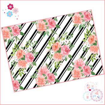 Black & White Diagonal Stripe Watercolour Floral A4 Edible Printed Sheet