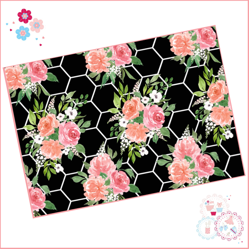 Black & White Hexagon Background Watercolour Floral A4 Edible Printed Sheet