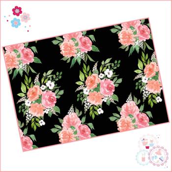 Black Background Watercolour Floral A4 Edible Printed Sheet
