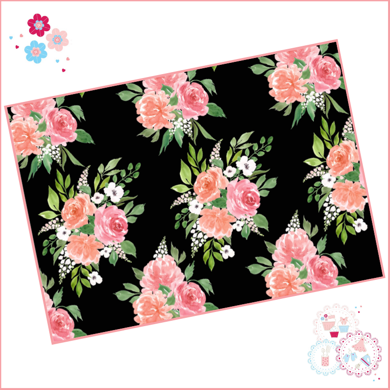 Black Background Watercolour Floral A4 Edible Printed Sheet