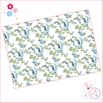 Pale Blue Roses Watercolour Vine Floral A4 Edible Printed Sheet