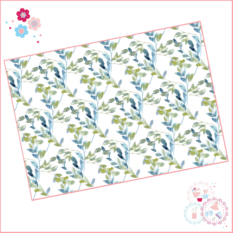 Pale Blue Roses Watercolour Floral A4 Edible Printed Sheet