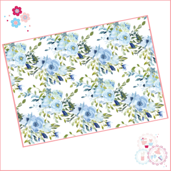 Pale Blue Roses Flower Cluster Watercolour Floral A4 Edible Printed Sheet