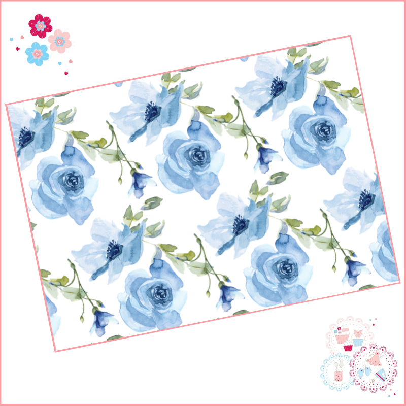 Pale Blue Roses Large Flowers Watercolour Floral A4 Edible Printed Sheet