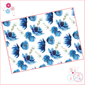 Dark Blue Watercolour Flowers Floral A4 Edible Printed Sheet Cake Wrap