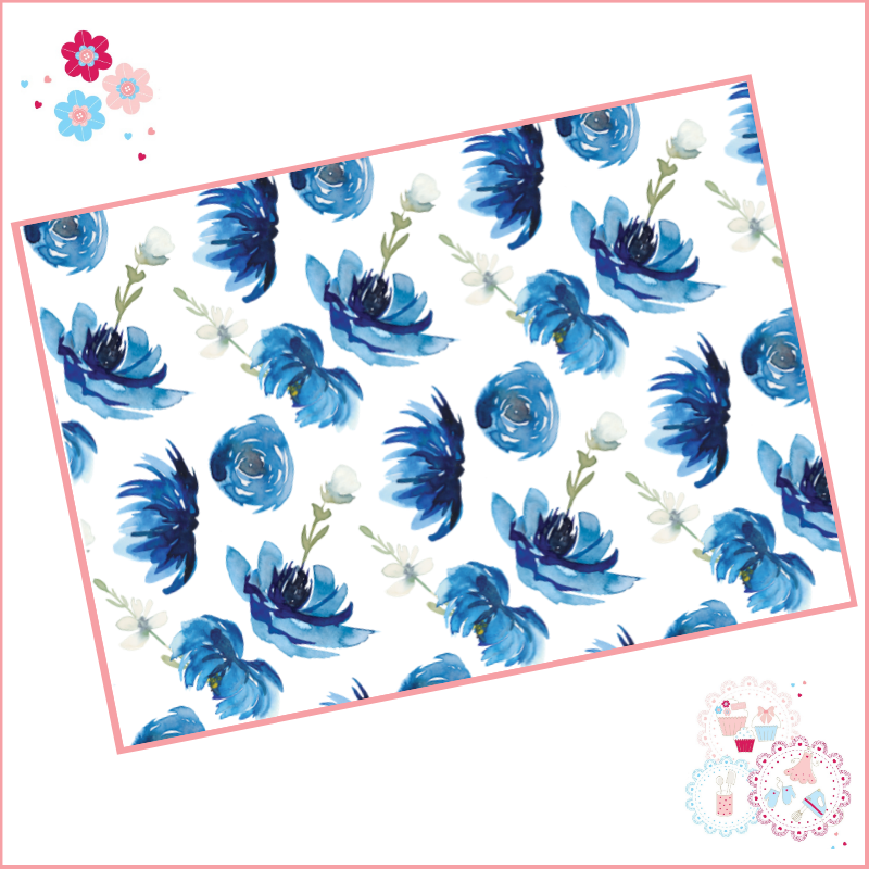 Dark Blue Watercolour Flowers Floral A4 Edible Printed Sheet Cake Wrap