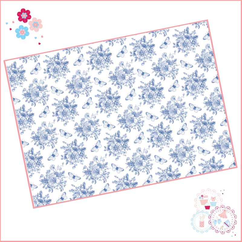 Delicate Blue fine drawing style floral A4 Edible Printed Sheet - small siz