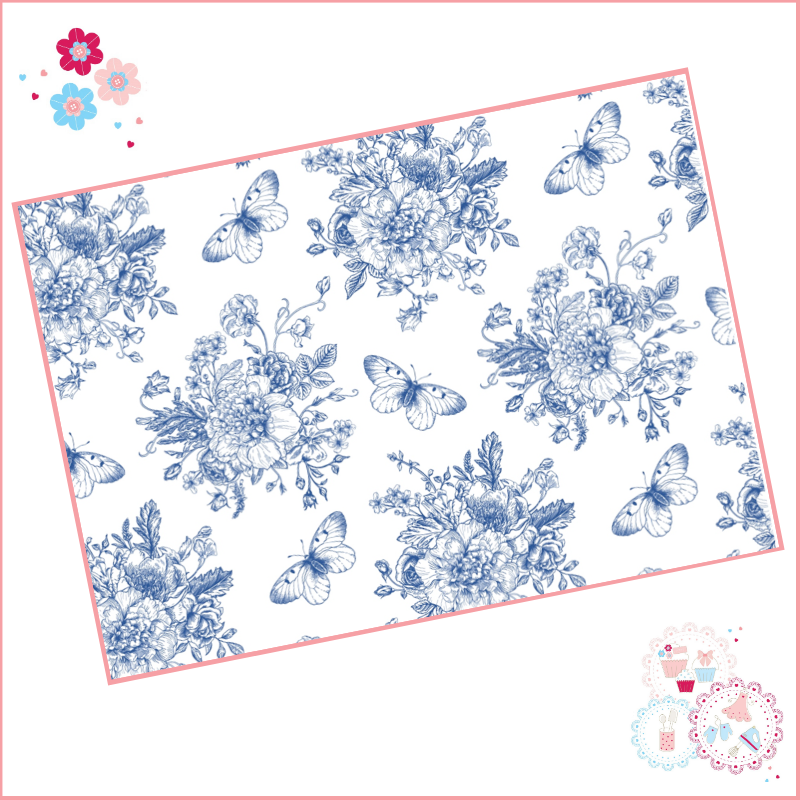 Delicate Blue fine drawing style floral A4 Edible Printed Sheet - medium si