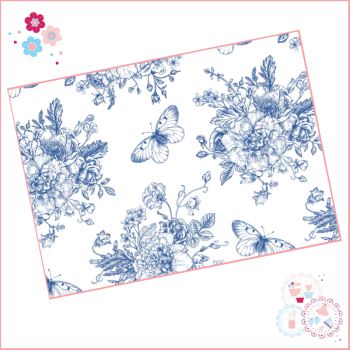 Delicate Blue fine drawing style floral A4 Edible Printed Sheet - large design