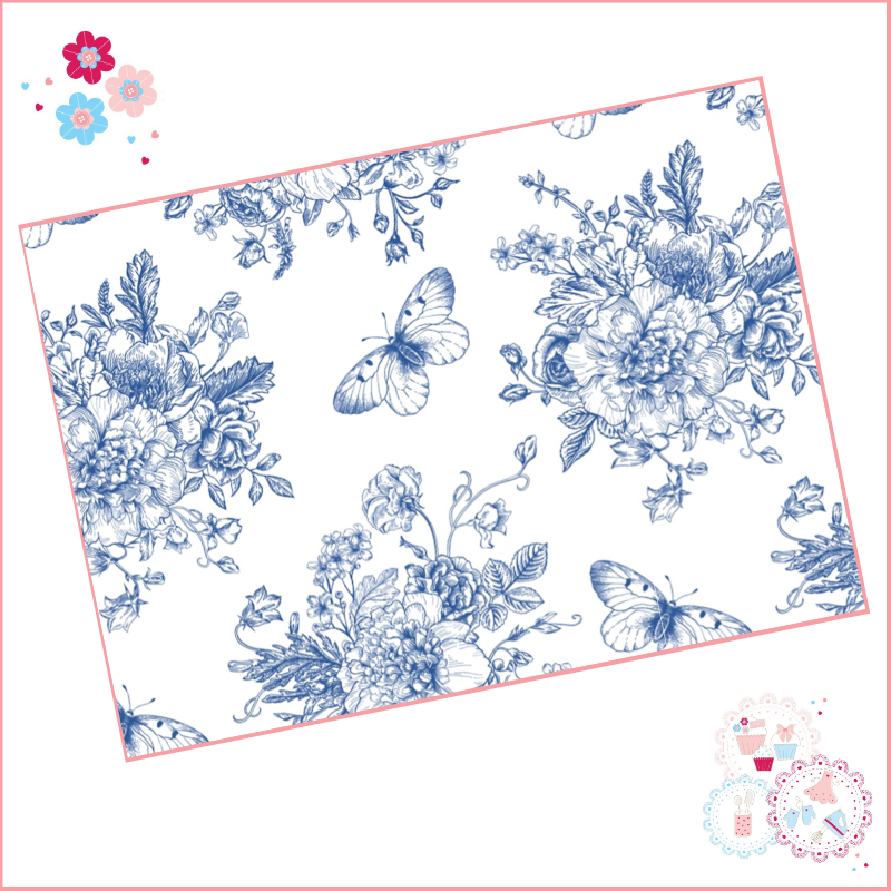 Delicate Blue fine drawing style floral A4 Edible Printed Sheet - large des