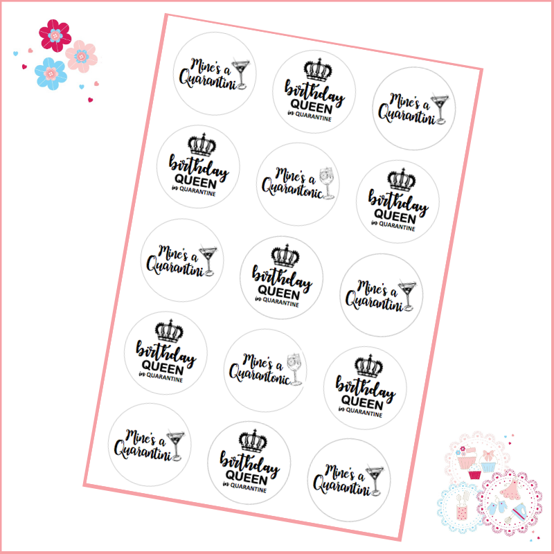 Quarantine Queen birthday  Cupcake Toppers