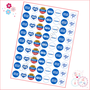 NHS Thankyou Mini Cupcake Toppers / Lollipop Toppers