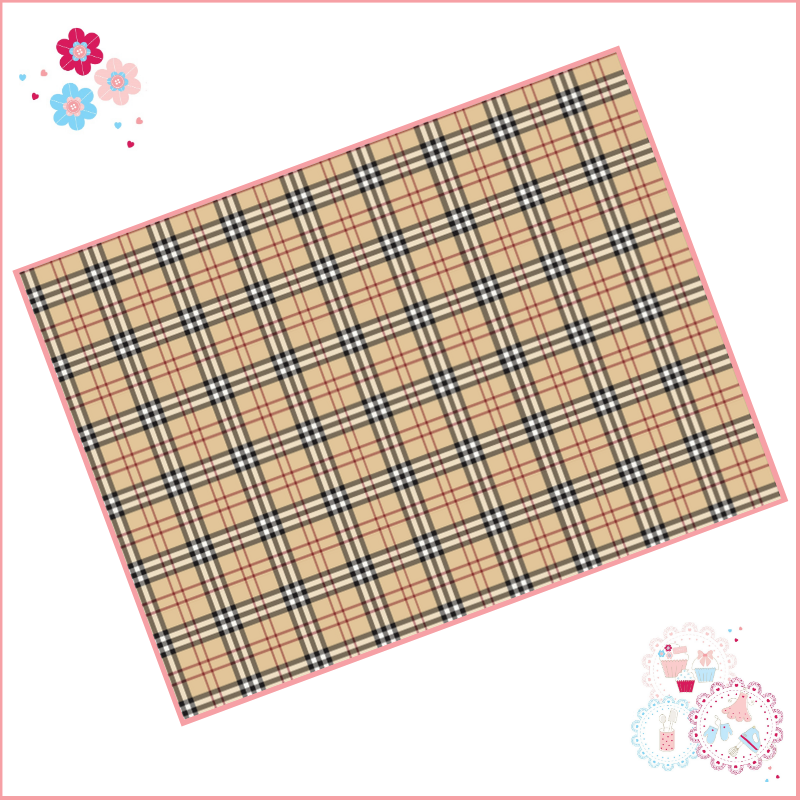 Edible Icing Sheet - Burberry style checks Designer Logo Icing Sheet (portr