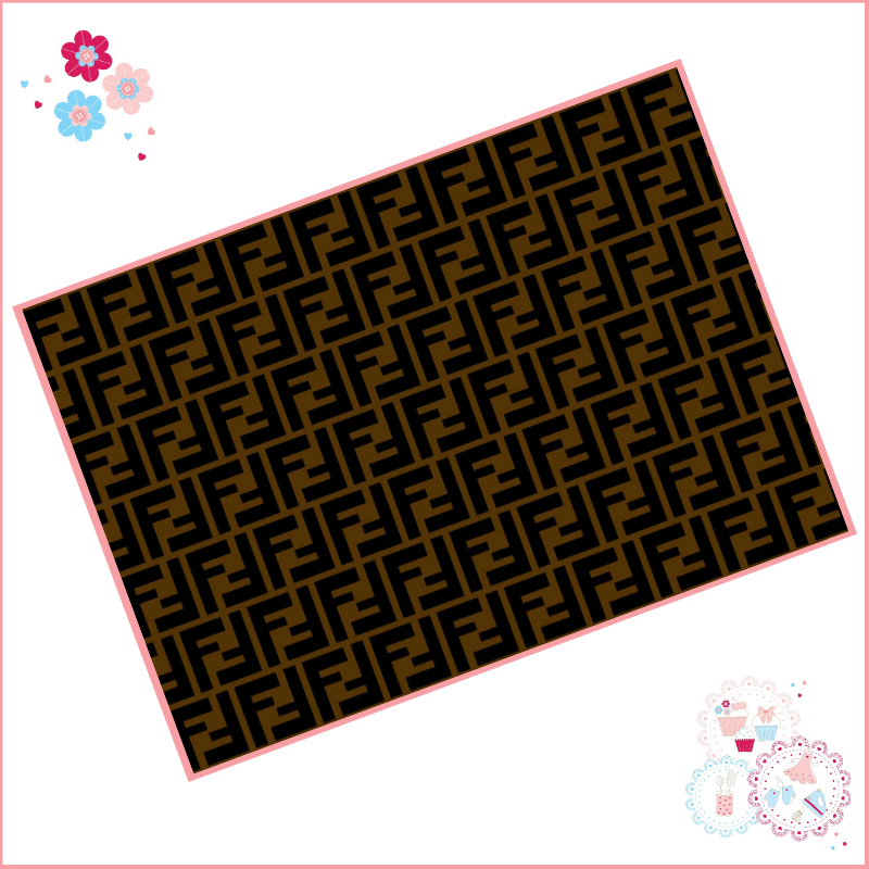 Edible Icing Sheet - Fendi style Designer Logo Icing Sheet (portrait or lan