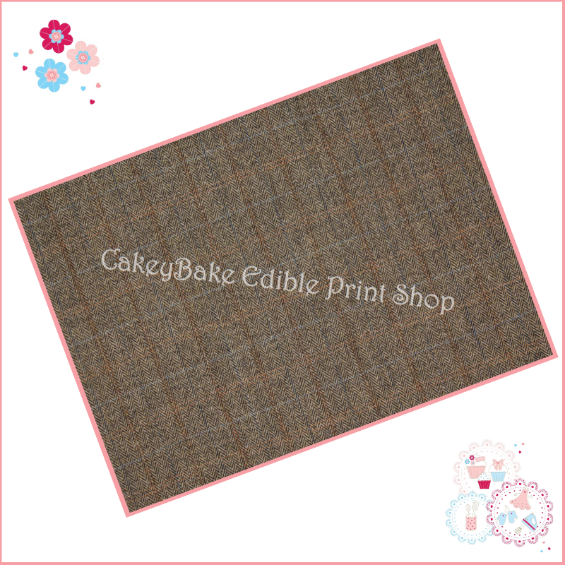 Edible Icing Sheet - Country Tweed checks Fabric style Icing Sheet (portrai