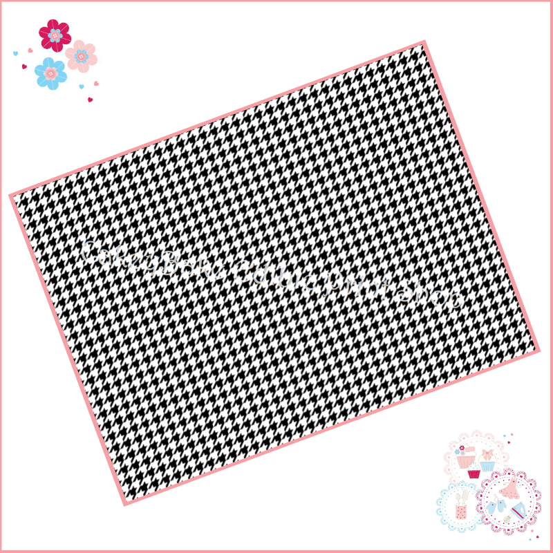 Edible Icing Sheet - Houndstooth black and white fabric style Icing Sheet (