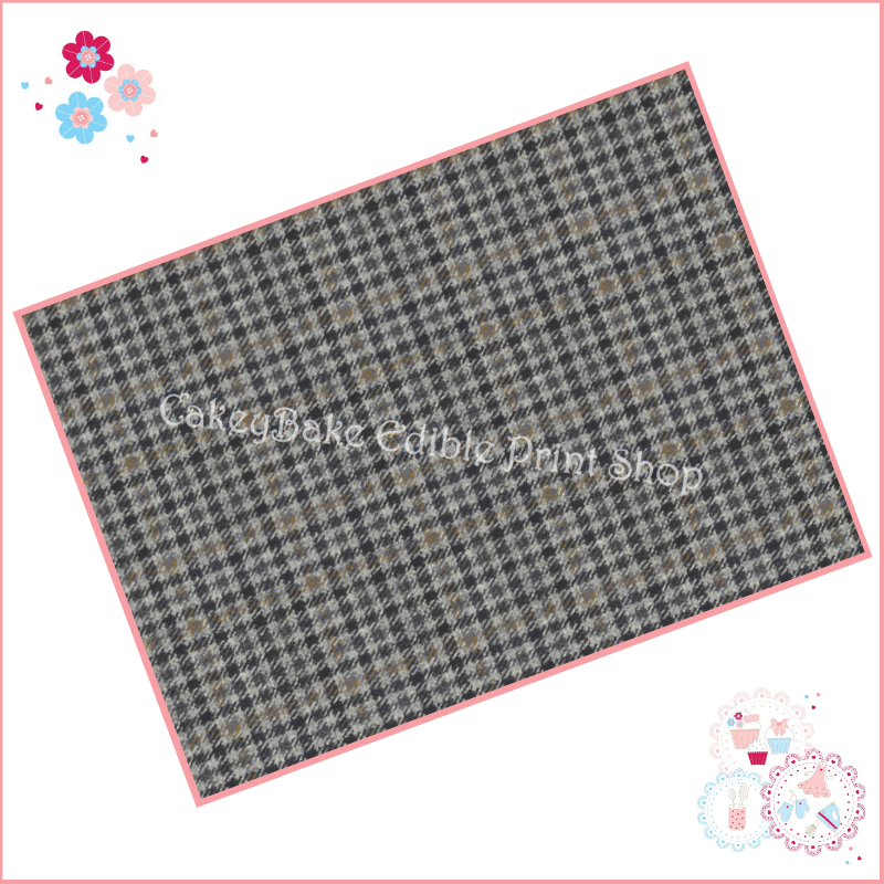 Edible Icing Sheet - Grey Tweed checkered Fabric style Icing Sheet (portrai