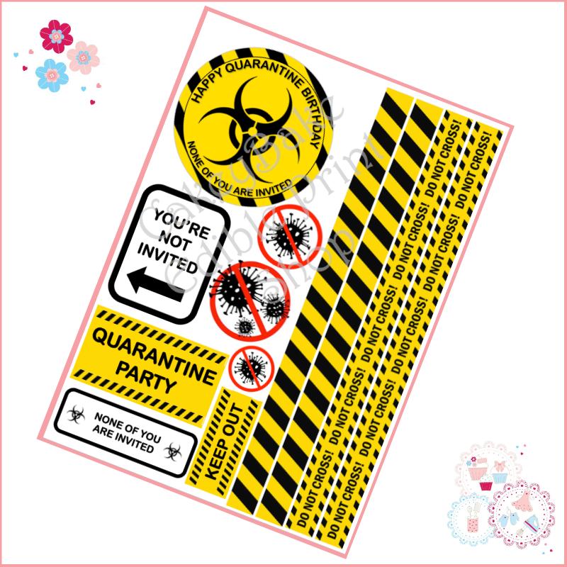 Quarantine Birthday Cake Topper Sheet