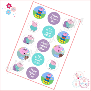 Edible Cupcake Toppers x 15 - Daddy Pig Themed Cupcake Toppers