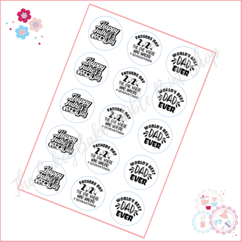 Edible Cupcake Toppers x 15 - Black and White Quarantine Fathers Day toppers