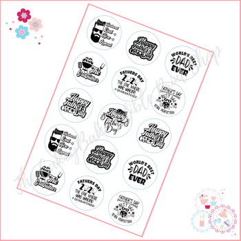 Edible Cupcake Toppers x 15 - Various Black and White Happy Fathers Day toppers