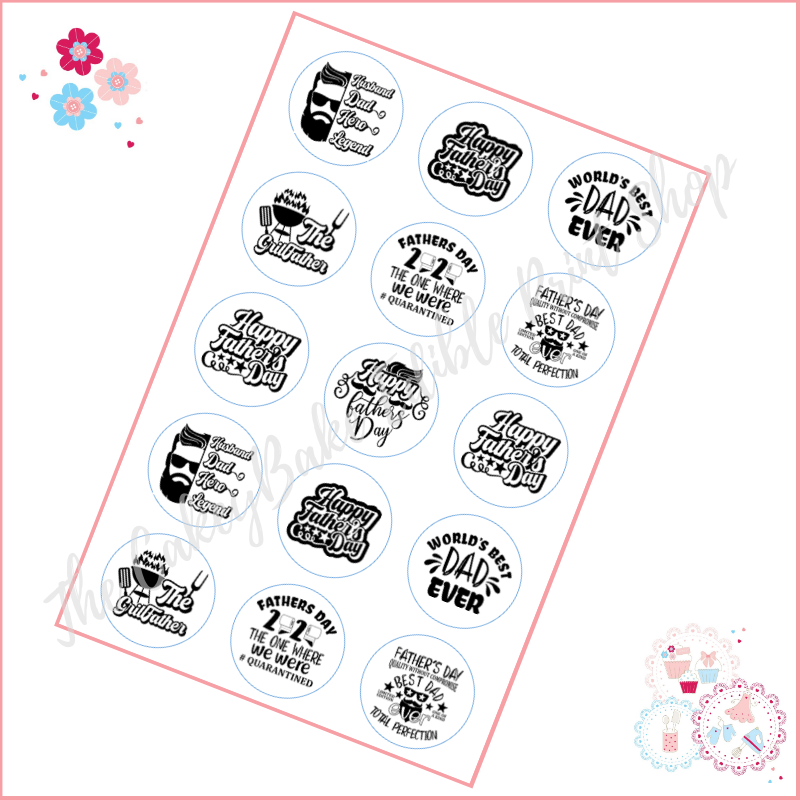 Edible Cupcake Toppers x 15 - Various Black and White Happy Fathers Day top