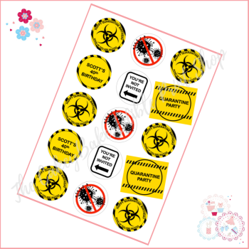 Quarantine Birthday Cupcake Toppers - personalised black and yellow themed