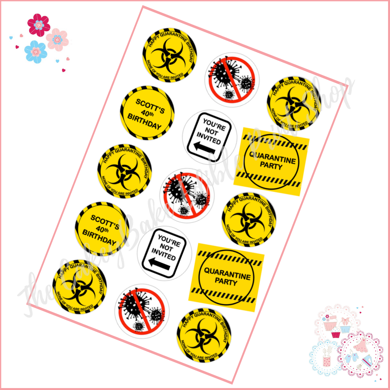 Quarantine Birthday Cupcake Toppers - black and yellow themed
