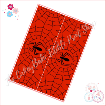 Edible Icing Sheet - Red and Black Web with Spider