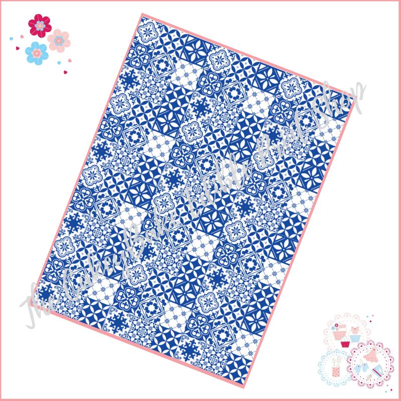 Blue & White Tiles A4 Edible Printed Sheet