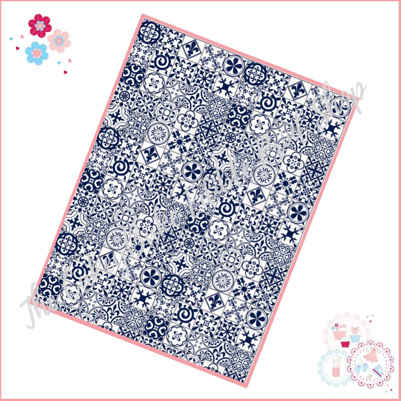 Dark Navy Blue & White Tiles A4 Edible Printed Sheet