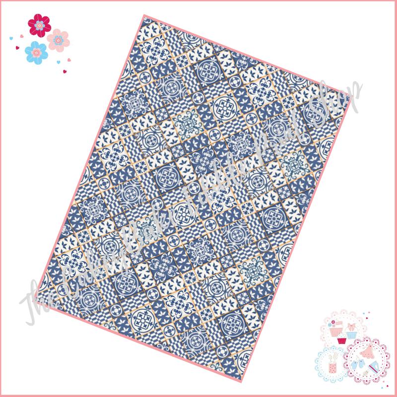 Mixed Blue & White Tiles yellow borders moroccan style tiles A4 Edible Prin