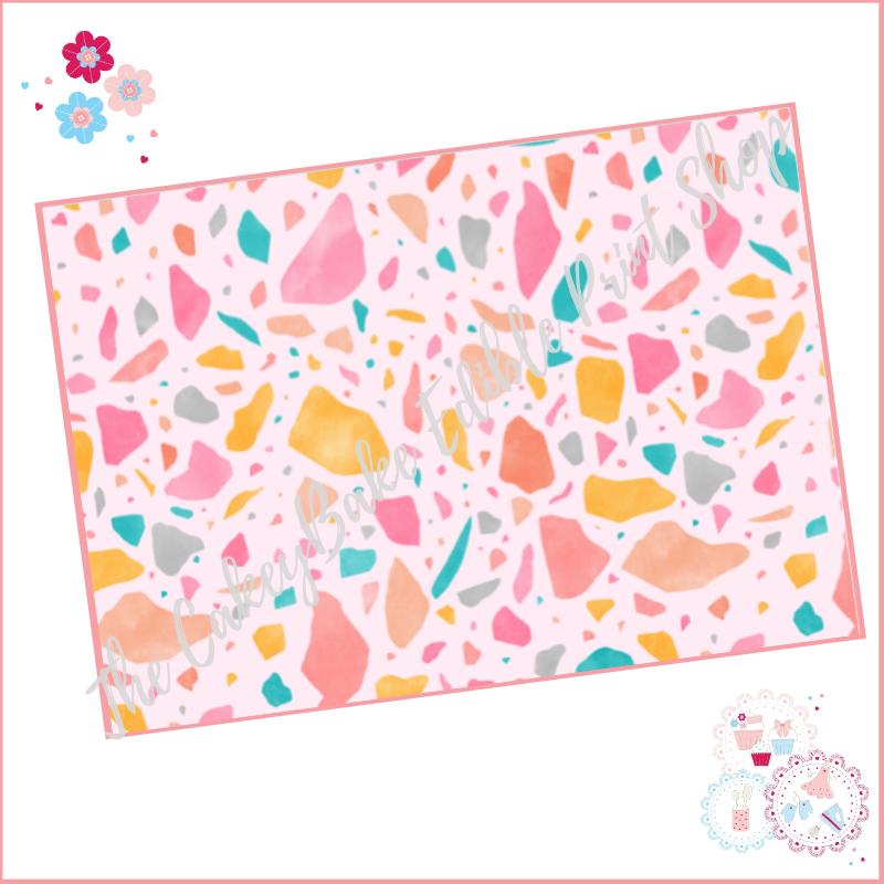 Terrazzo Patterned Cake Wrap A4 Edible Printed Sheet - Design 1