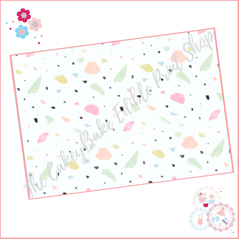 Terrazzo Patterned Cake Wrap A4 Edible Printed Sheet - Design 2