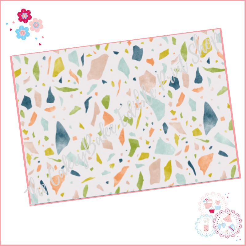 Terrazzo Patterned Cake Wrap A4 Edible Printed Sheet - Design 3