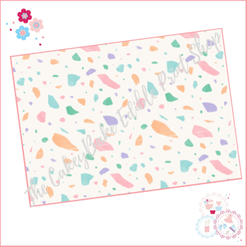 Terrazzo Patterned Cake Wrap A4 Edible Printed Sheet - Design 4 - pastel