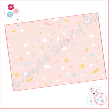 Terrazzo Patterned Cake Wrap A4 Edible Printed Sheet - Design 5 - pastel pink background