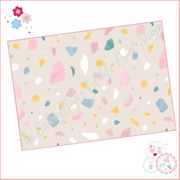 Terrazzo Patterned Cake Wrap A4 Edible Printed Sheet - Design 6 - stone background