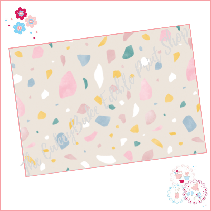 Terrazzo Patterned Cake Wrap A4 Edible Printed Sheet - Design 6 - stone bac