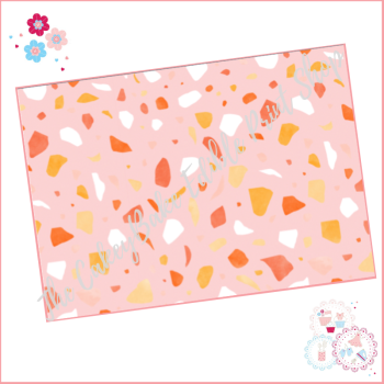 Terrazzo Patterned Cake Wrap A4 Edible Printed Sheet - Design 7 - orange coral and yellow