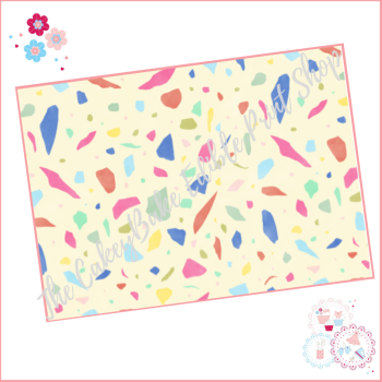 Terrazzo Patterned Cake Wrap A4 Edible Printed Sheet - Design 8 - yellow bold