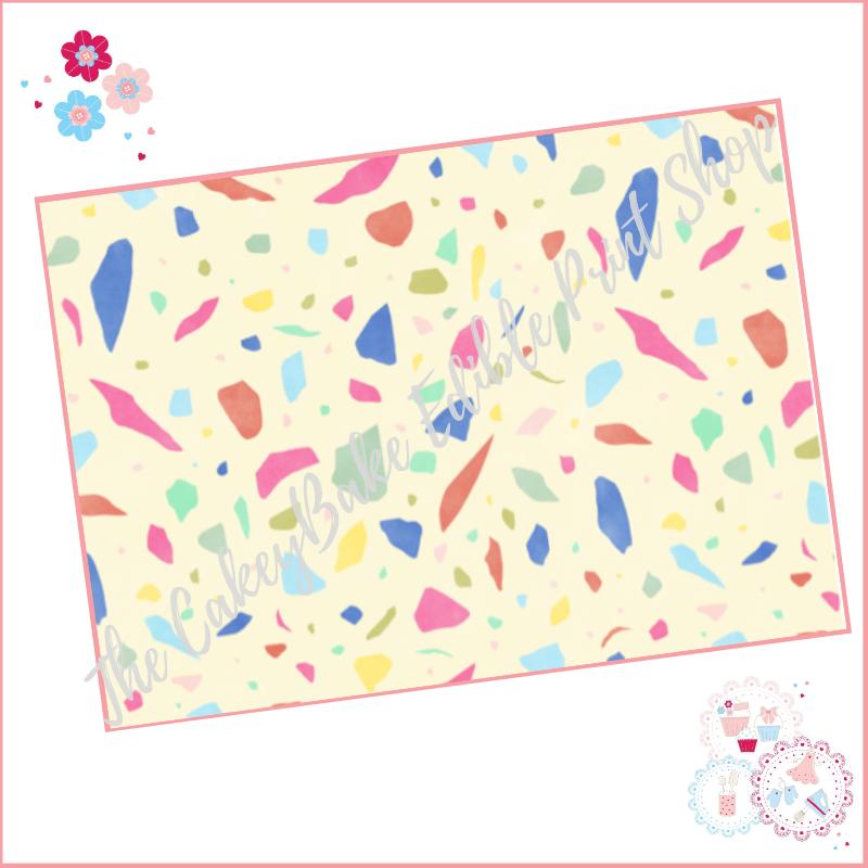 Terrazzo Patterned Cake Wrap A4 Edible Printed Sheet - Design 8 - yellow bo
